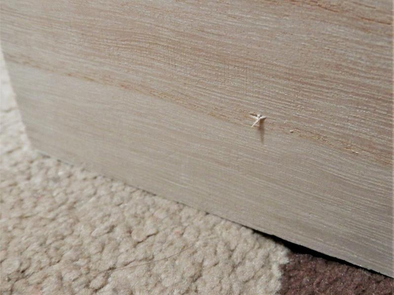 板から木ねじが飛び出したところ