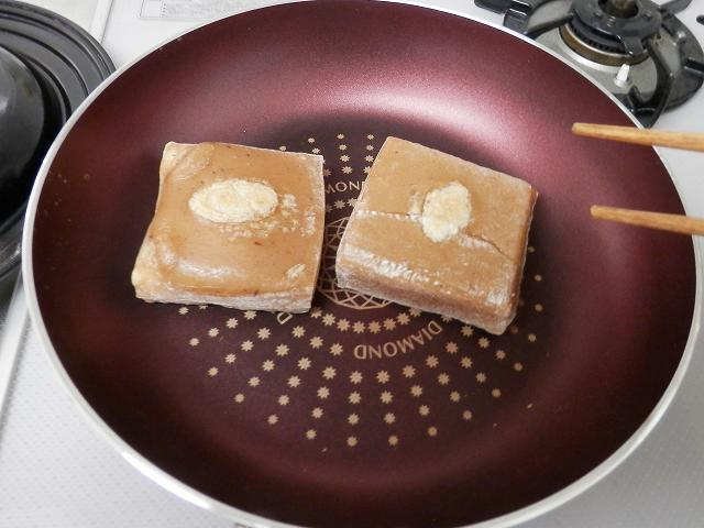 フライパンで焼き餅、焼き上がり