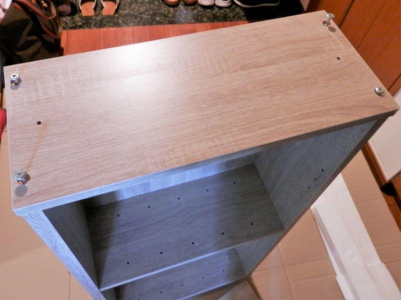 ラック2本目の天板のネジ締め(3連本棚)