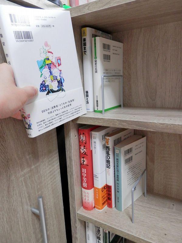 上側、棚板中段、小説(3連本棚)