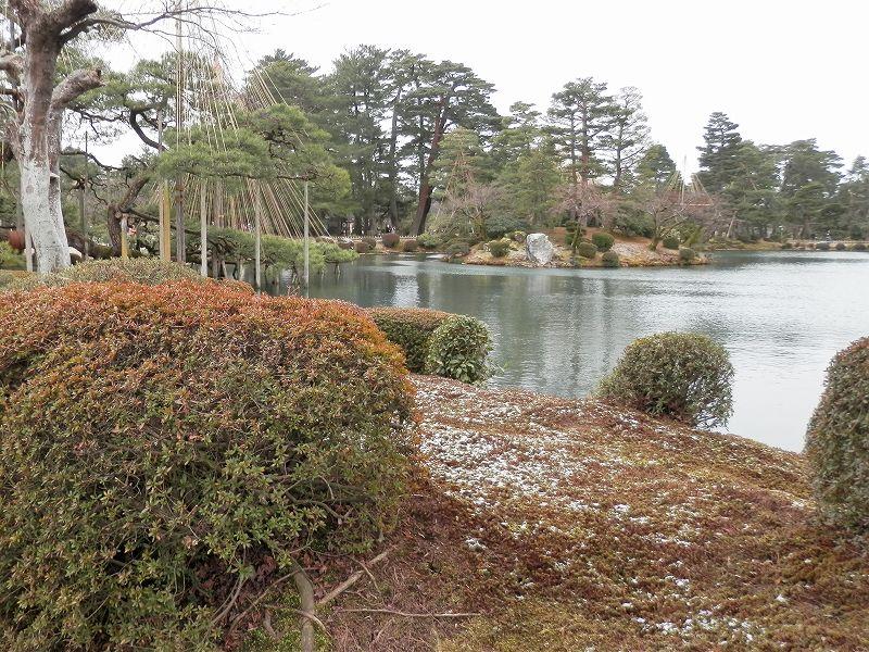 霞ヶ池のふちの雪(兼六園)