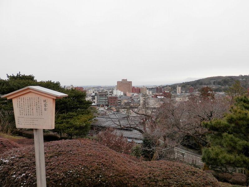 眺望台から金沢大学病院(兼六園)