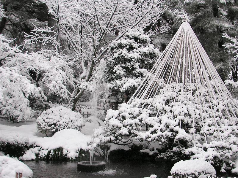 雪の兼六園(噴水)