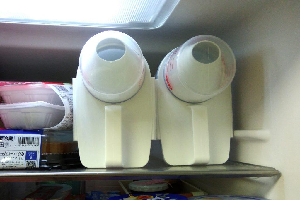 縦型米びつの冷蔵庫保管の様子